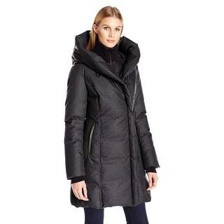 Soia & Kyo Camyl Slim-fit Mid-Length Brushed Down Hooded Coat Jacket Black