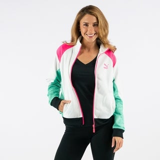 PUMA Women's Retro Track Jacket - White/Biscay Green