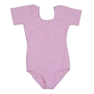 Danshuz Pink Short Sleeve Cotton Dance Leotard Girls 2-14