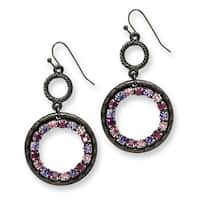 Black IP Pink Crystal Fireball Leverback Earrings