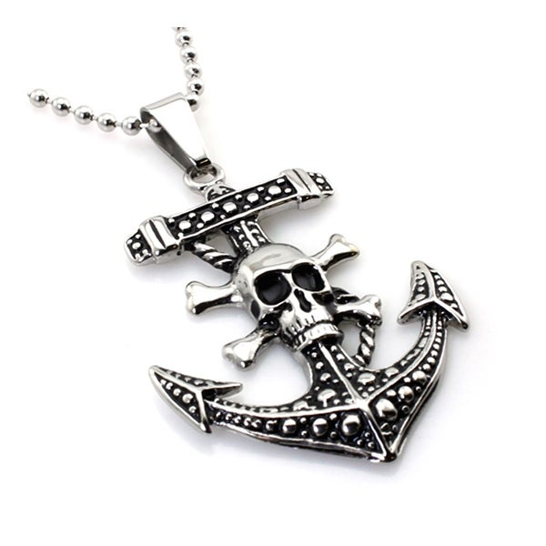 Stainless Steel Pirate Anchor Skull Pendant - 24 inches