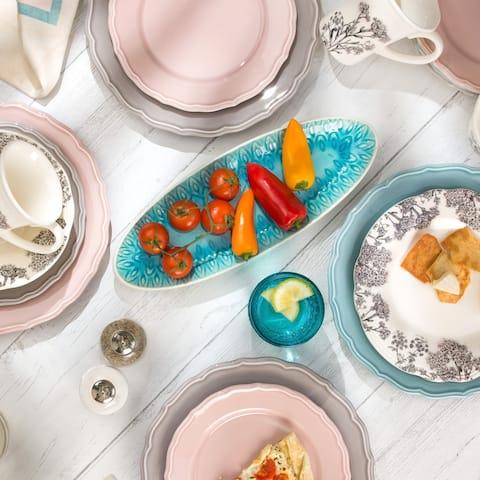 "Euro Ceramica Peacock 13"" Oval Crackle-Glazed Appetizer Platter"