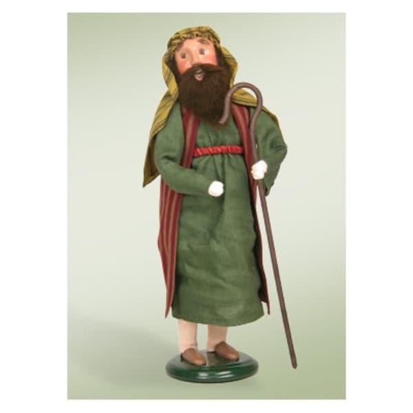 "13"" Nativity Shepherd Man with Cane Christmas Caroler Figure - green"