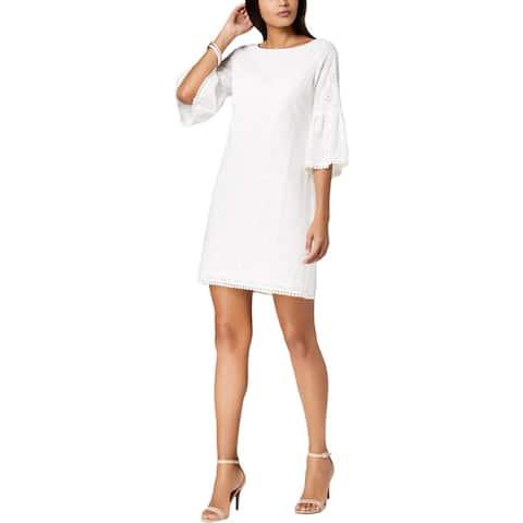 Jessica Howard Womens Petites Casual Dress Eyelet Bell Sleeves