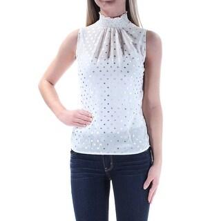 Womens Ivory Sleeveless Turtle Neck Top Size XS