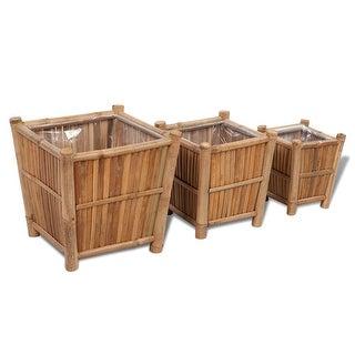 vidaXL Planter Set 3 Pieces Bamboo with Nylon Lining
