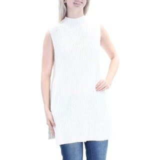 Womens Ivory Sleeveless Turtle Neck Casual Tunic Sweater Size S