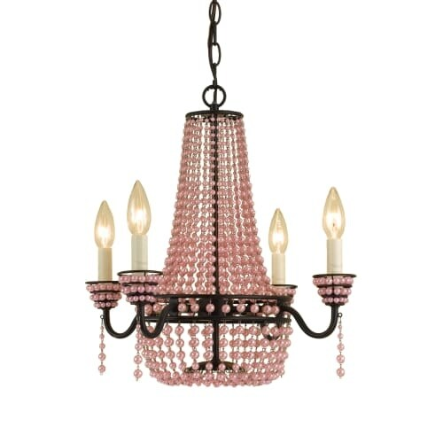 "AF Lighting 7002-4H Elements Series ""Parlor"" Four-Light Mini Empire Chandelier with Pink Faux Beads and Swag Kit, Finished in"