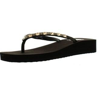 Yellow Box Jewel Womens Fashion Flip Flop Sandals