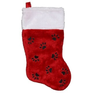 """Link to 14"""" Red with Black Paw Prints and White Cuff Christmas Stocking Similar Items in Christmas Decorations"""