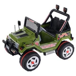Costway 12V MP3 Kids Raptor Jeep Truck RC Ride On Car w/ Double Motors & Batteries Green