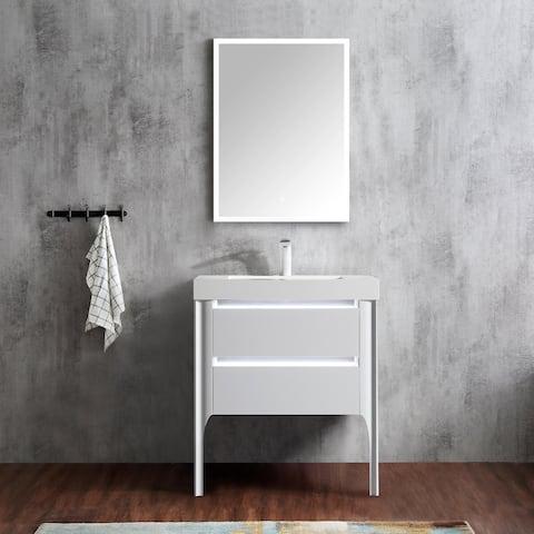 """Willa 30"""" Single Bathroom Vanity Set with LED Lights"""