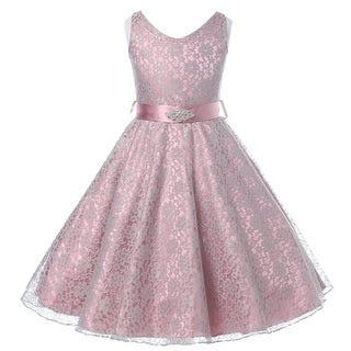 Flower Girl Dress V-Neck Lace Rhinestone Brooch Dusty Rose GG 3511
