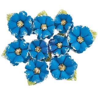 Prima Marketing Fabric Flowers W/Beads & Flocking 9/Pkg-Morocco