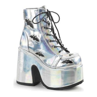 Demonia Women's Camel 201 Platform Ankle Bootie Silver Hologram/Black Vegan Leather
