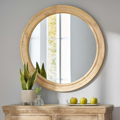 Mesena Indoor Wood Round Mirror by Christopher Knight Home