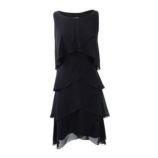 SL Fashions Women's Tiered Chiffon Dress - Black