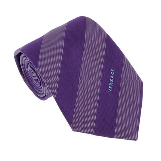 Versace Violet Woven Dotted Stripe Tie