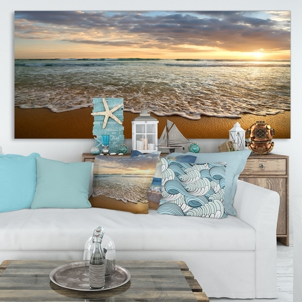 Bright Cloudy Sunset in Calm Ocean - Contemporary Seascape Art Canvas. Opens flyout.