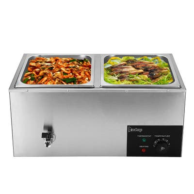 110V 600W 6.9QT/10.6QT 2/3 Cells Bain Marie Food Warmer High Grade Stainless Steel Chafer Set