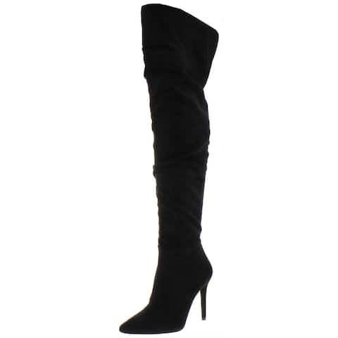 Jessica Simpson Women's Ladee Faux Suede Slouchy Over the Knee Heeled Boots