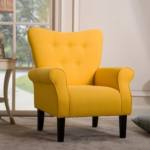 TiramisuBest Accent Chair Roll Arm Cushion with Wooden Legs