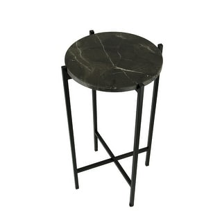 Black Marble Stone Top Metal Frame Accent Table - 23.75 X 13 X 13 inches