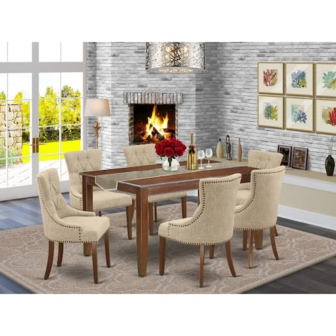 Rectangle Table and Parson Chairs in Dahlia Linen Fabric (Number of Chairs Option)