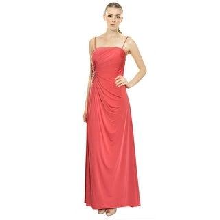 Aidan Mattox Slinky Strapless Jersey Knit Ruched Long Gown Dress - 4