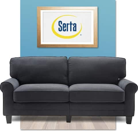 "Serta Copenhagen 73"" Sofa Couch for Two People, Pillowed Back Cushions and Rounded Arms, Durable Modern Upholstered Fabric"