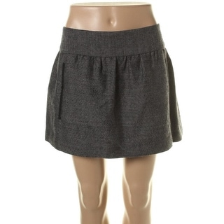 Theory Womens Janna Tweed Leather Trim Mini Skirt