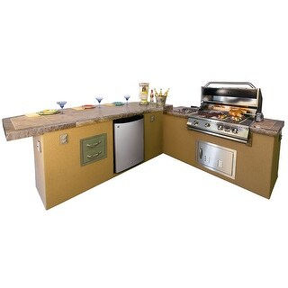 Caribbean 2 Piece 4' Island With 8' Bar Outdoor BBQ Kitchen