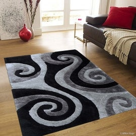 "AllStar Rugs Grey Shaggy Area Rug with 3D Black Spiral Design. Contemporary Formal Hand Tufted (7' 6"" x 10' 5"")"