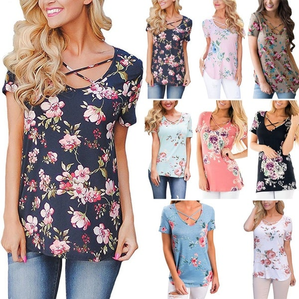 Floral Top with Cutout Neckline in 8 Colors