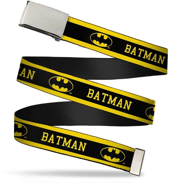 Blank Chrome Buckle Batman Logo Stripe Yellow Black Webbing Web Belt