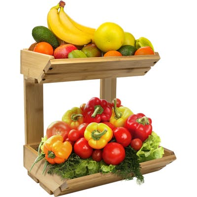 Bamboo Fruit Vegetable Basket Kitchen Counter Stand 2-Tier Storage