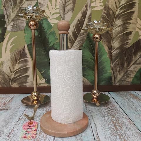 "GAURI KOHLI Valencia Pink Marble Paper Towel Holder (13""x6"") - 13""x6"""
