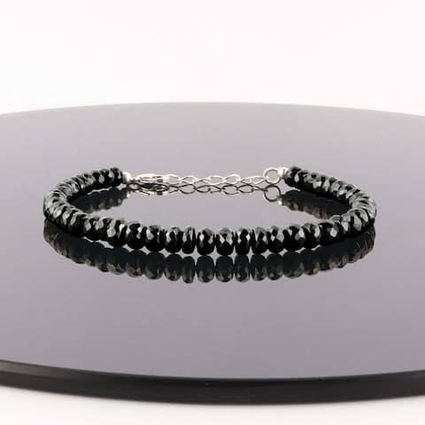Natural Shungite Bracelet 925 Sterling Silver Healing Root Chakra Women Jewelry