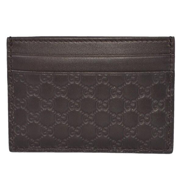 2f19d4e15c5104 Gucci Men's 262837 Brown Leather Micro GG Guccissima Small Card Case