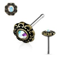Crystal Center Tribal Heart Filigree Antique Gold IP Surgical Steel Nose Stud Ring - 20GA (Sold Ind)