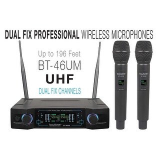 Boytone BT-46UM UHF Digital Channel Wireless Microphone System - Dual Fixed Frequency Wireless Mic Receiver, 2 Handheld