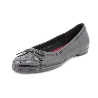 Aerosoles Beckon Women Cap Toe Leather Black Flats