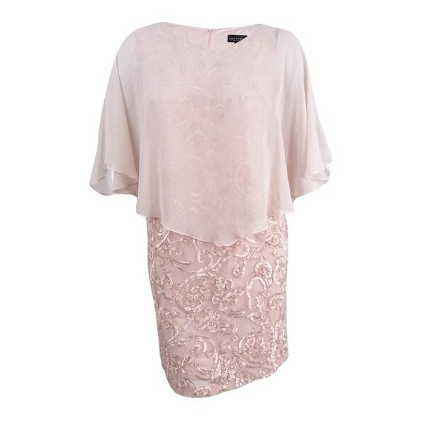 Connected Women's Plus Size Chiffon-Overlay Soutache Dress - Blush