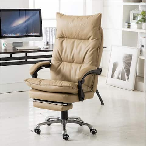 Kerrogee Adjustable Full Leather High Back Office Recliner Chair with Footrest - 48.4''H x 25.6''D x 25.6''W