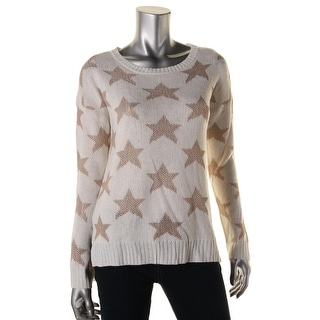 Rampage Womens Juniors Metallic Heart Pattern Pullover Sweater