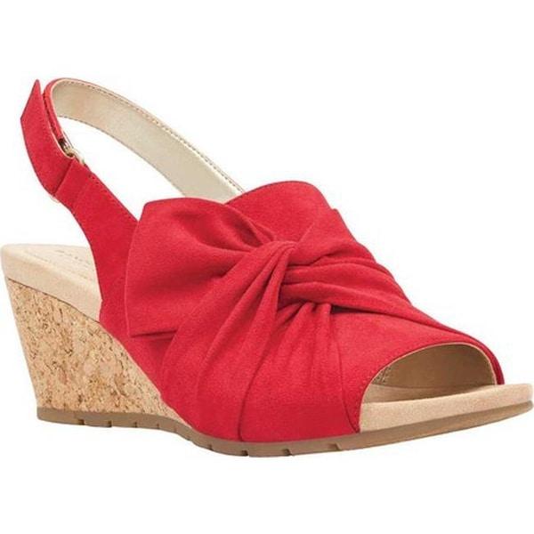 ca2bcfa730f Shop Bandolino Women's Gayla Wedge Slingback Crimson Faux Suede ...