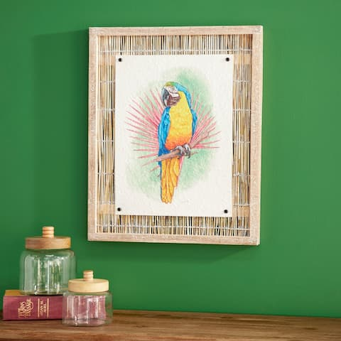 """Framed Parrot Painting on Reed Wall Art, 17"""" x 21"""" - 17 x 2 x 21"""