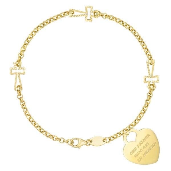 "Forever Last 10KT Gold Bonded over Silver ""Cross/Heart""Bracelet. Opens flyout."