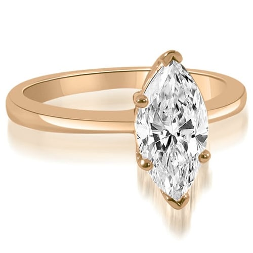 0.75 cttw. 14K Rose Gold Solitaire Marquise Cut Diamond Engagement Ring