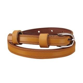 "Women Embossed Stitching Single Pin Buckle Leather Thin Belt Width 1/2"" Ochre"